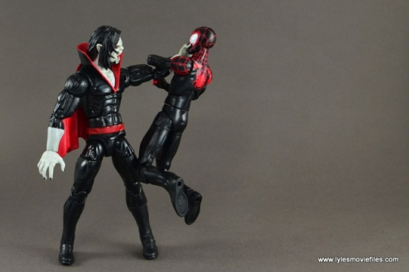 Marvel Legends Morbius figure review - choking Miles Morales