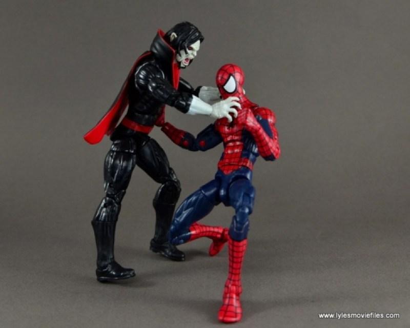 Marvel Legends Morbius figure review - throttling Spider-Man