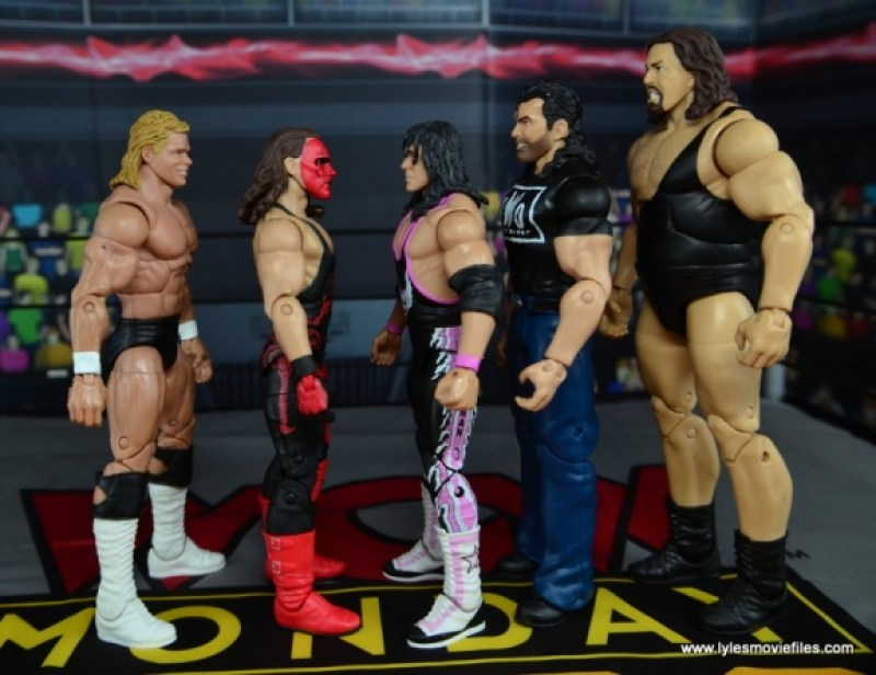 WWE Wolfpac Sting figure review -scale with Lex Luger, Bret Hart, Scott Hall and The Giant