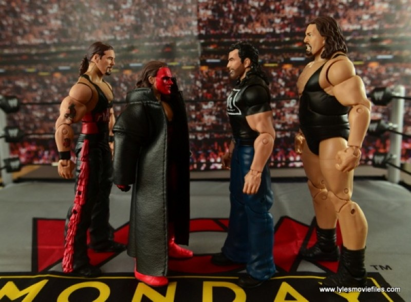 WWE nWo Wolfpac Kevin Nash Elite figure review - scale with Wolfpac Sting, Scott Hall and The Giant