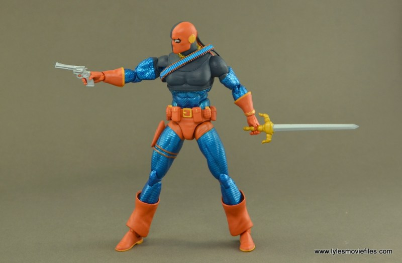 DC Icons Deathstroke the Terminator figure review -aiming pistol with sword