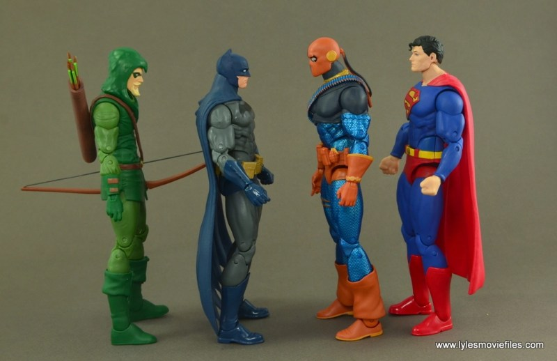DC Icons Deathstroke the Terminator figure review -scale with Green Arrow, Batman and Superman