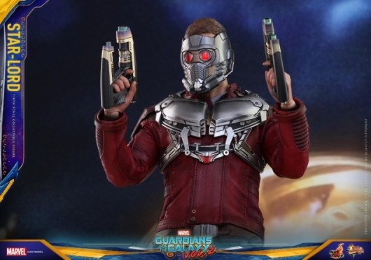 Hot Toys Guardians of the Galaxy Vol. 2 Star-Lord figure -mask on guns up