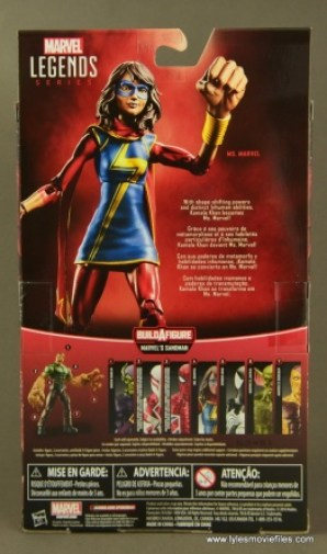 Marvel Legends Ms. Marvel figure review -package rear