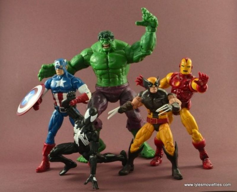 Marvel Legends Symbiote Spider-Man figure review - ready for action with Captain America, Hulk, Wolverine and Iron Man