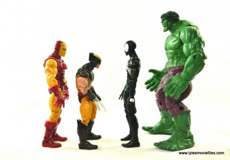 Marvel Legends Symbiote Spider-Man figure review - scale with Iron Man, Wolverine and Hulk