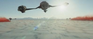 Star Wars Episode VII - The Last Jedi trailer images - flying in to battle Crait