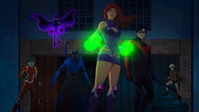 Teen Titans The Judas Contract -Beast Boy, Blue Beetle, Raven, Starfire and Nightwing