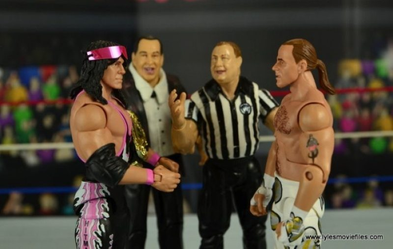 WWE Wrestlemania 12 Elite Shawn Michaels figure review -match prep with Bret Hart and Gorilla Monsoon