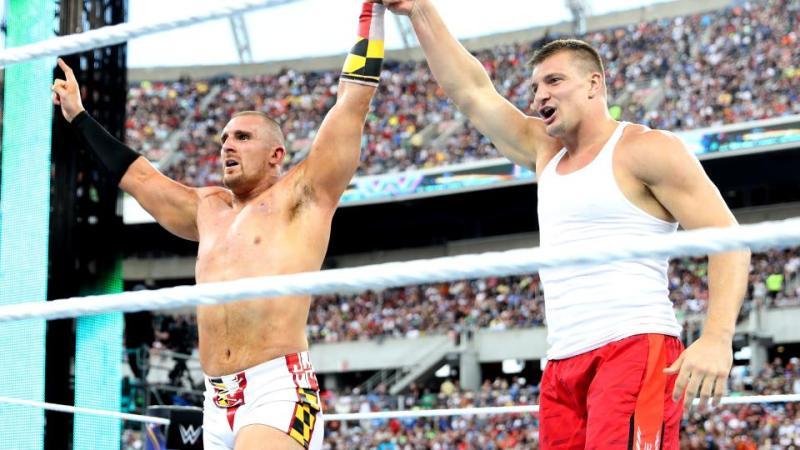 Wrestlemania 33 - Mojo Rawley and Rob Gronkowski