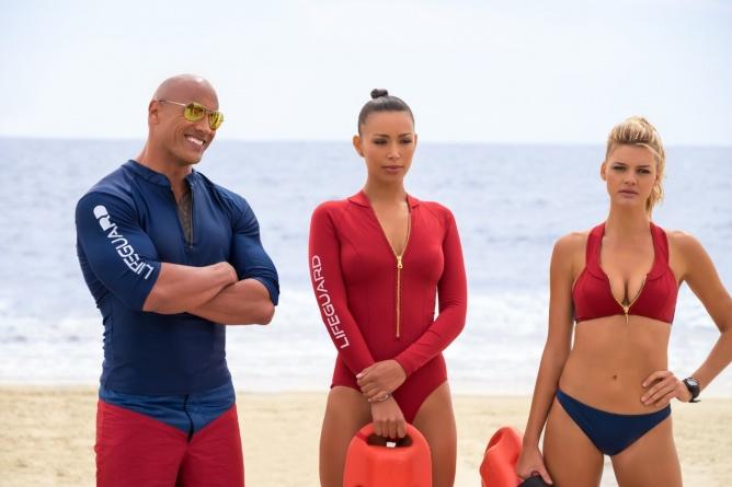 Baywatch -Dwayne Johnson, Ilfenesh Hadera and Kelly Rohrbach