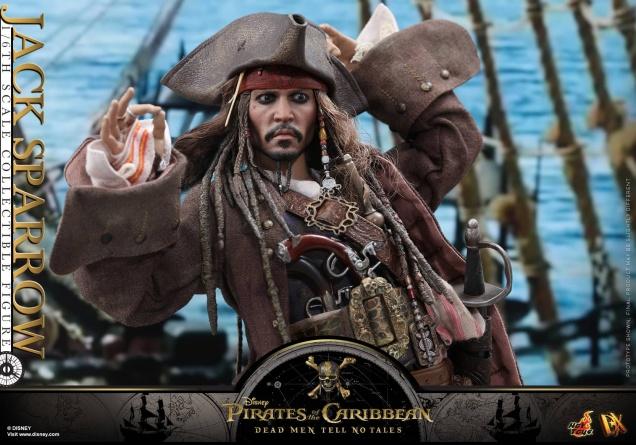 Hot Toys Capt Jack Sparrow figure -holding hat wide