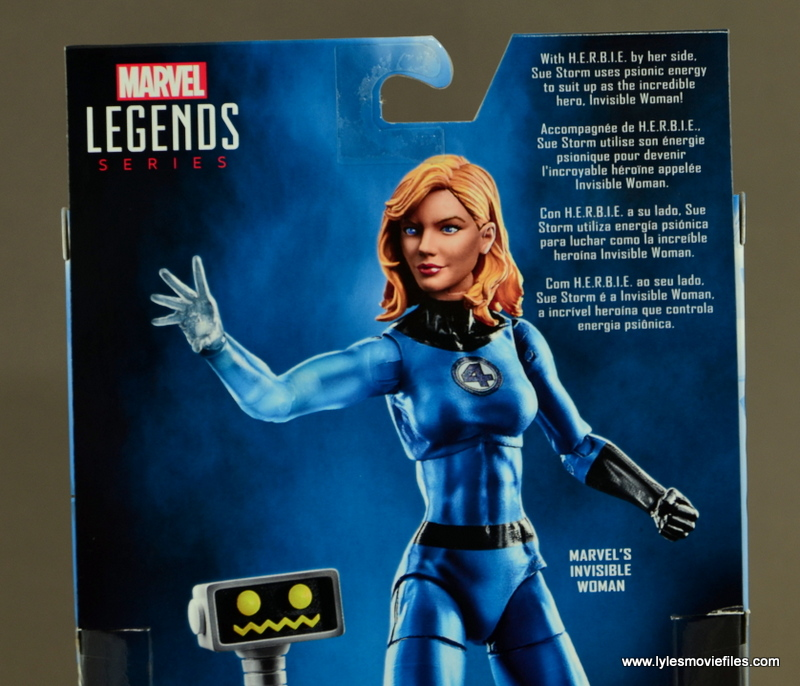 Marvel Legends Invisible Woman figure review -package bio