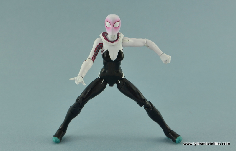 Marvel Legends Spider-Gwen figure review - hood down split