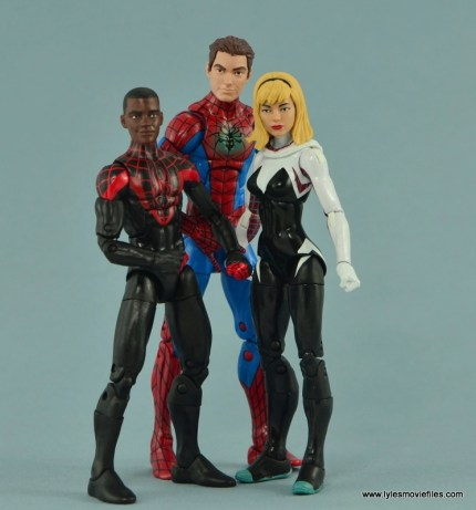 Marvel Legends Spider-Gwen figure review - standing with Miles Morales and Peter Parker