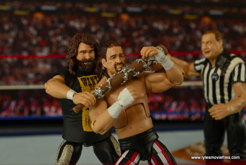 WWE Elite 48 Cactus Jack figure review -choking out Terry Funk with barbed wire baseball bat