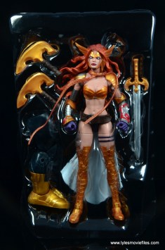Marvel Legends Angela figure review -accessories in tray
