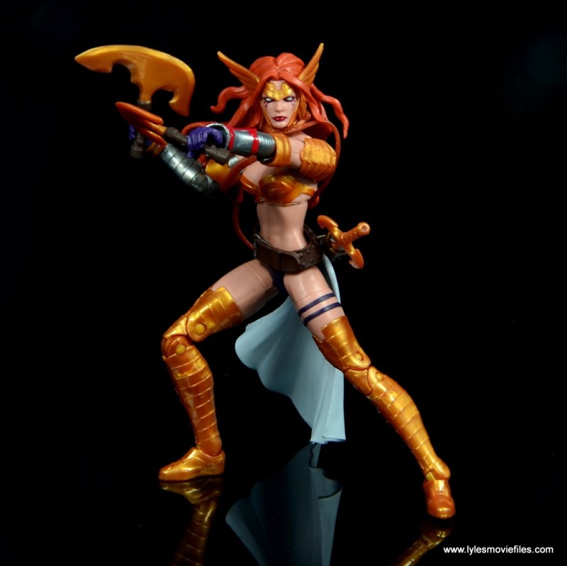 Marvel Legends Angela figure review - axes ready
