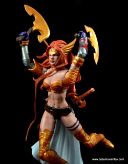 Marvel Legends Angela figure review -leaping with axes