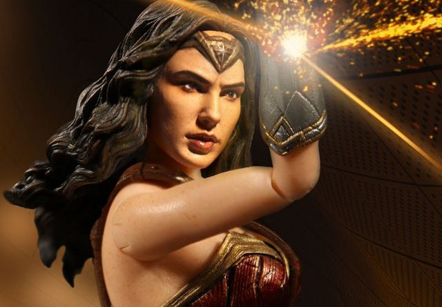 Mezco Toyz One 12 Wonder Woman figure - deflecting bullets with braclets