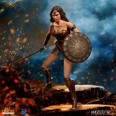 Mezco Toyz One 12 Wonder Woman figure - walking on ash
