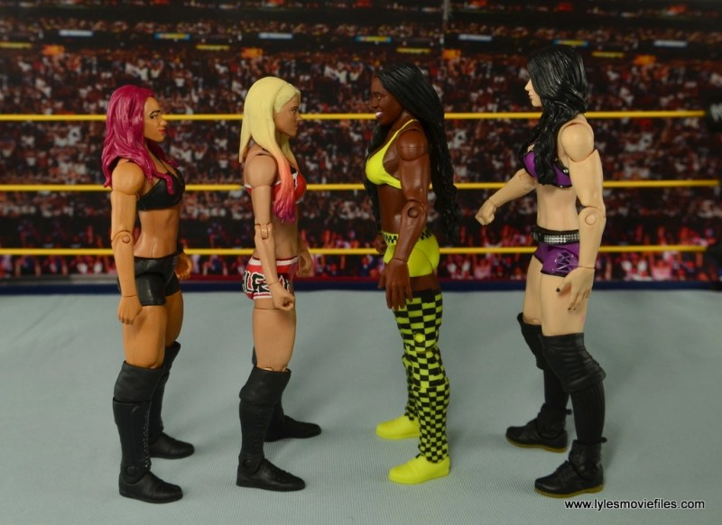 WWE Basic Alexa Bliss figure review - scale with Sasha Banks, Naomi and Paige