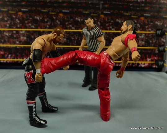 WWE Defining Moments Shinsuke Nakamura figure review -kick to Zayn