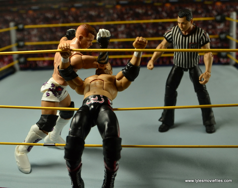 WWE Elite Tyson Kidd figure review -elbow to Sami Zayn