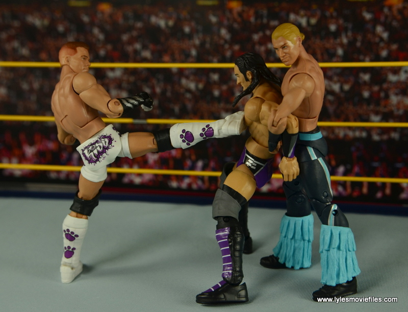 WWE Elite Tyson Kidd figure review -kicking Neville