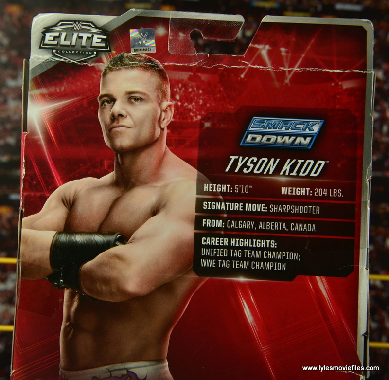WWE Elite Tyson Kidd figure review -package bio