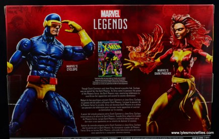Marvel Legends Cyclops and Dark Phoenix figure review -package bio