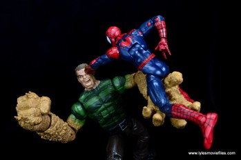 Marvel Legends Sandman figure review -getting punched by Spider-Man