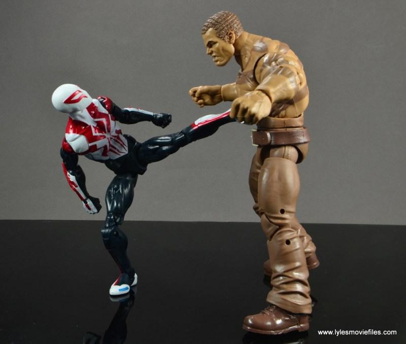 Marvel Legends Spider-Man 2099 figure review - kicking Sandman
