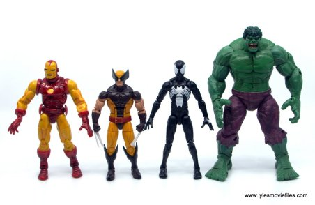 Marvel Legends Symbiote Spider-Man figure review - scale with Iron Man, Wolverine and Hulk front