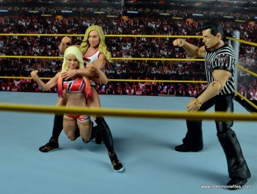 WWE Carmella figure review - chin lock to Alexa Bliss