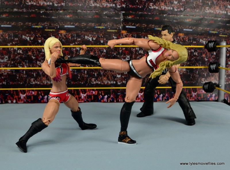 WWE Carmella figure review - side kick to Alexa Bliss