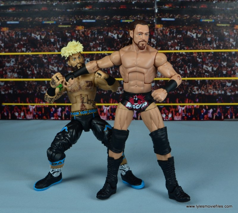WWE Elite Big Cass and Enzo figure review - Cass holding Enzo back