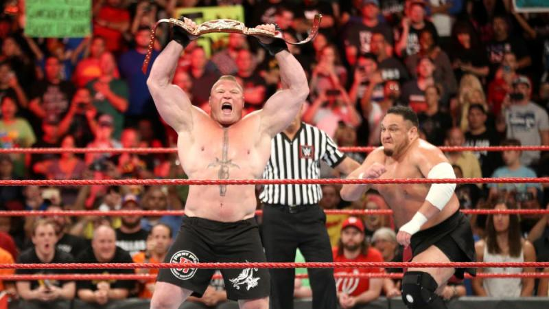 WWE Great Balls of Fire Samoa Joe charges at Brock Lesnar