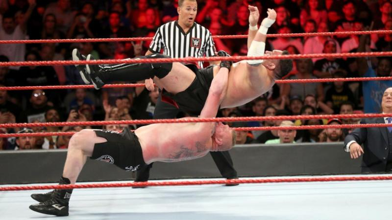 WWE Great Balls of Fire Samoa Joe suplexed by Brock Lesnar