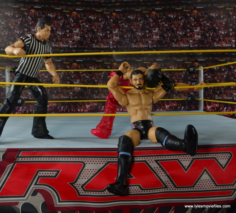 WWE NXT TakeOver Austin Aries figure review -snapping Nakamura into the ropes