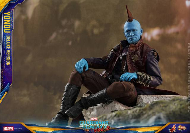 Hot Toys Guardians of the Galaxy Vol. 2 Yondu figure -sitting on rock