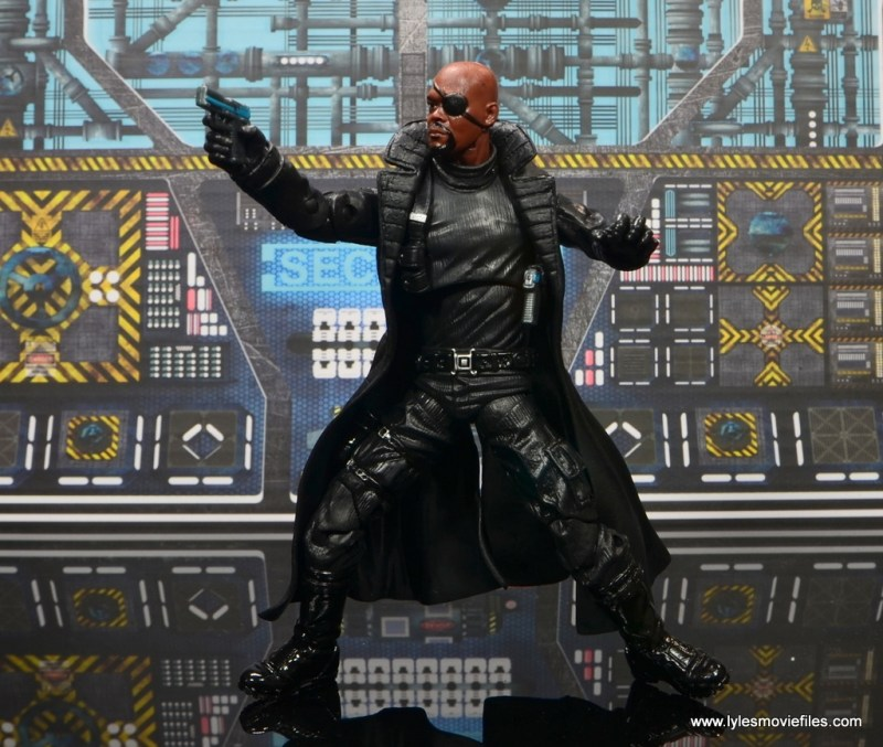 Marvel Legends Avengers Initative figure review -Nick Fury aiming