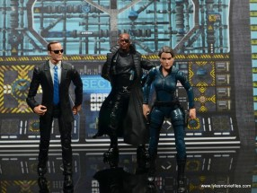 Marvel Legends Avengers Initative figure review -main pic of Agent Coulson, Nick Fury and Maria Hill