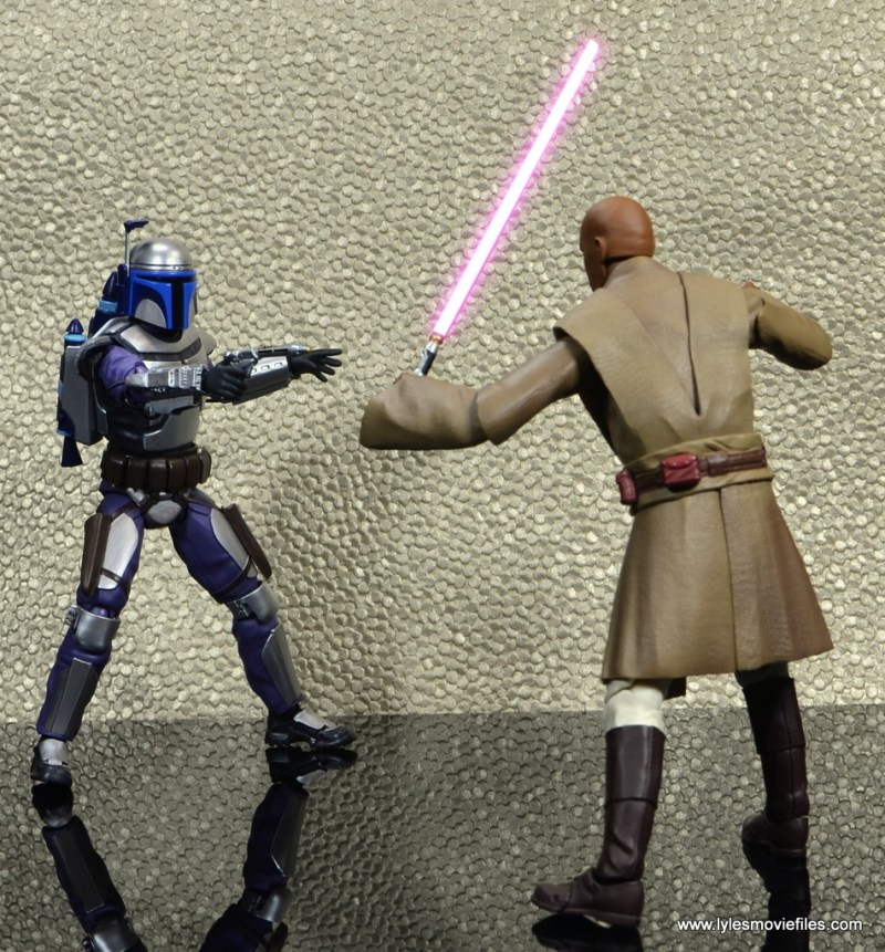 SH Figuarts Jango Fett figure review - vs Mace Windu saber lit