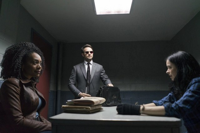 The Defenders - Mean Right Hook - Misty Knight interrogates Jessica Jones but Matt Murdock walks in