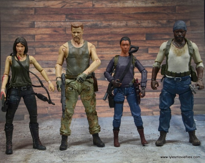 The Walking Dead Sasha figure review - scale with Maggie, Abraham and Tyrese