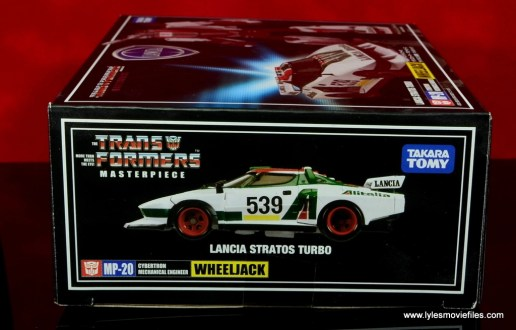 Transformers Masterpiece Wheeljack figure review -package side vehicle mode