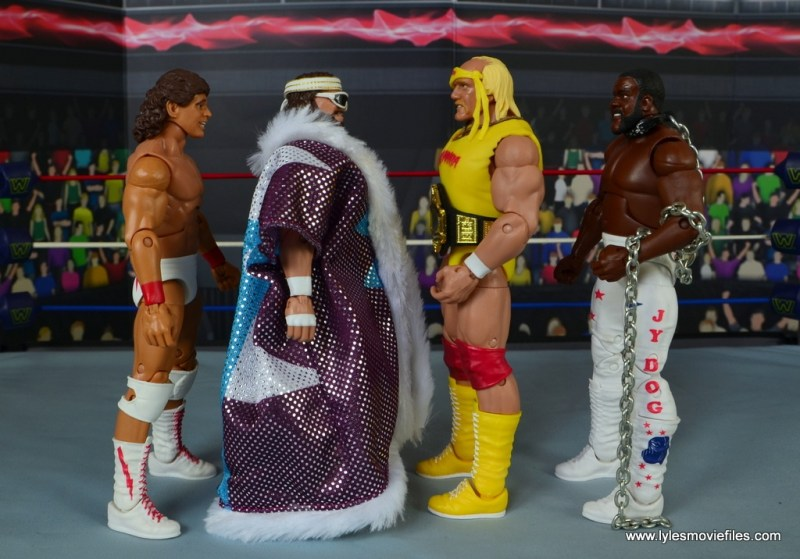 WWE Defining Moments Macho Man Randy Savage figure review - scale with Tito Santana, Hulk Hogan and Junkyard Dog