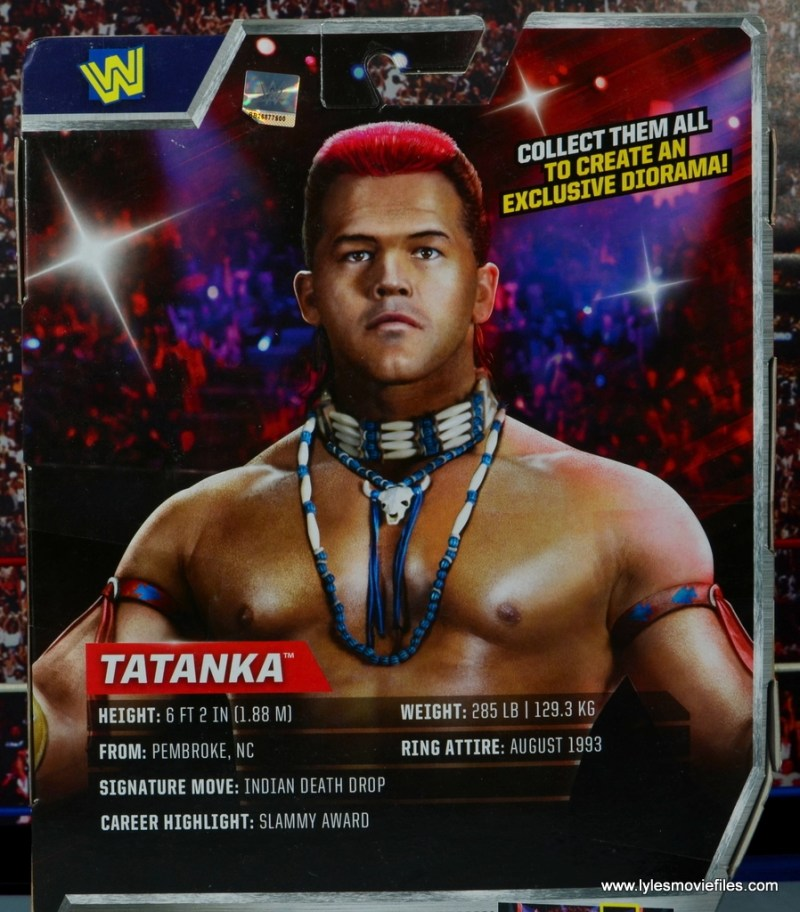 WWE Elite Tatanka figure review - package bio