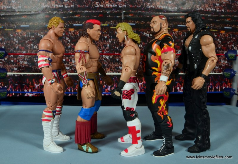 WWE Elite Tatanka figure review - scale with Lex Luger, HBK, Bam Bam Bigelow and Diesel